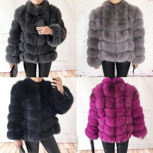 100 true fur coat Women s warm and stylish natural fox fur jacket vest Stand collar 11