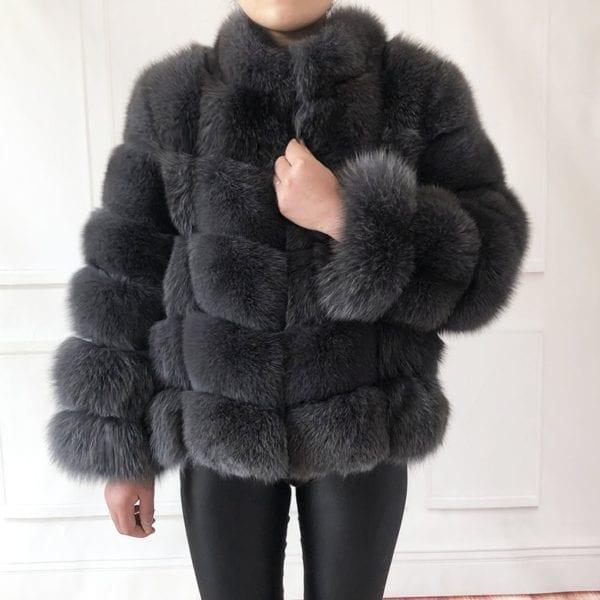 100 true fur coat Women s warm and stylish natural fox fur jacket vest Stand collar 6
