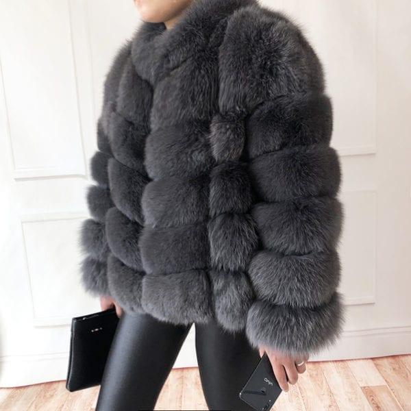 100 true fur coat Women s warm and stylish natural fox fur jacket vest Stand collar 7