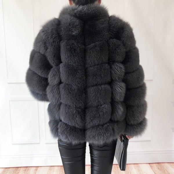 100 true fur coat Women s warm and stylish natural fox fur jacket vest Stand collar 8