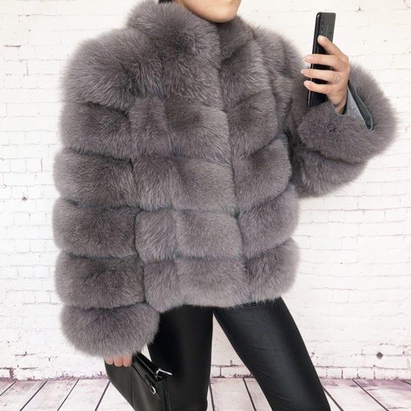 100 true fur coat Women s warm and stylish natural fox fur jacket vest Stand collar 9