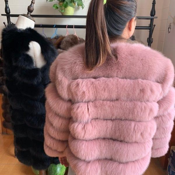 2019 55CM New Women Warm Real Fox Fur Coat Short Winter Fur Jacket Outerwear Natural Blue 10