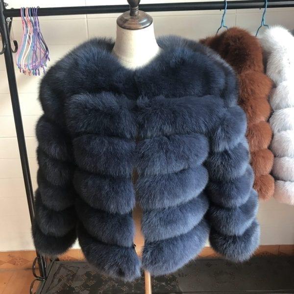 2019 55CM New Women Warm Real Fox Fur Coat Short Winter Fur Jacket Outerwear Natural Blue 6