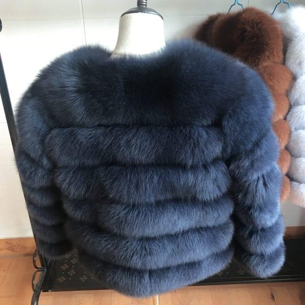 2019 55CM New Women Warm Real Fox Fur Coat Short Winter Fur Jacket Outerwear Natural Blue 8