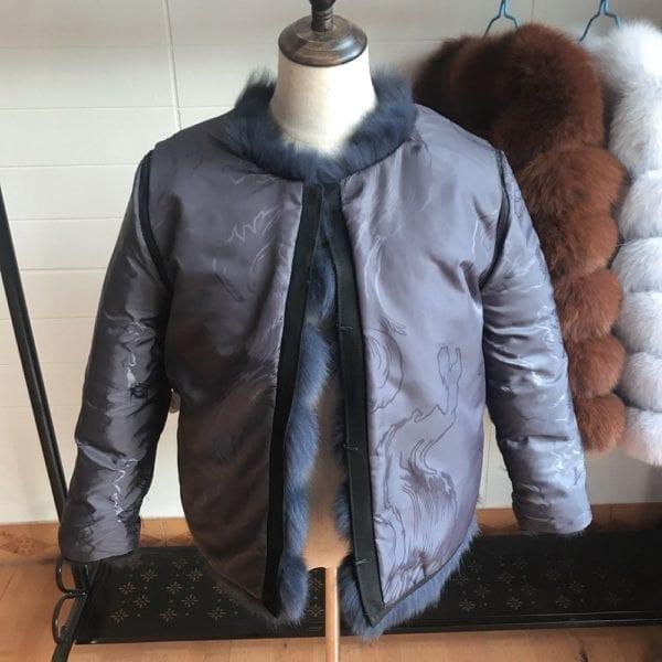 2019 55CM New Women Warm Real Fox Fur Coat Short Winter Fur Jacket Outerwear Natural Blue 9