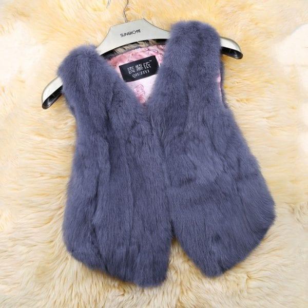 2019 Hot Sale Women Real Genuine Rabbit Fur Vest Fashion 100 Real Rabbit Fur Gilet Lady 7