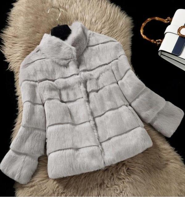 2019 Mandarin Collar Sheared genuine real natural women s rabbit fur coat fashional fur jacket all 2