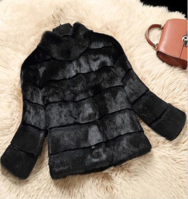 2019 Mandarin Collar Sheared genuine real natural women s rabbit fur coat fashional fur jacket all 3