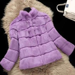 2019 Mandarin Collar Sheared genuine real natural women s rabbit fur coat fashional fur jacket all