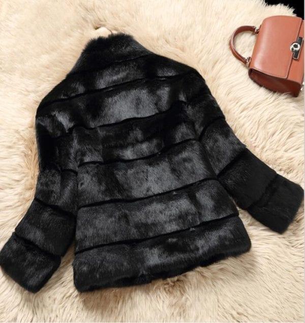2019 Mandarin Collar Sheared genuine real natural women s rabbit fur coat fashional fur jacket all 4