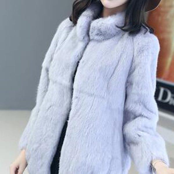 2019 Natural 100 Genuine Full Pelt Rabbit Fur Coat Women Fashion Whole Fur Wholesale Retail Jacket 1