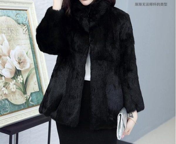 2019 Natural 100 Genuine Full Pelt Rabbit Fur Coat Women Fashion Whole Fur Wholesale Retail Jacket 2