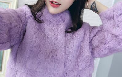 2019 Natural 100 Genuine Full Pelt Rabbit Fur Coat Women Fashion Whole Fur Wholesale Retail Jacket 3