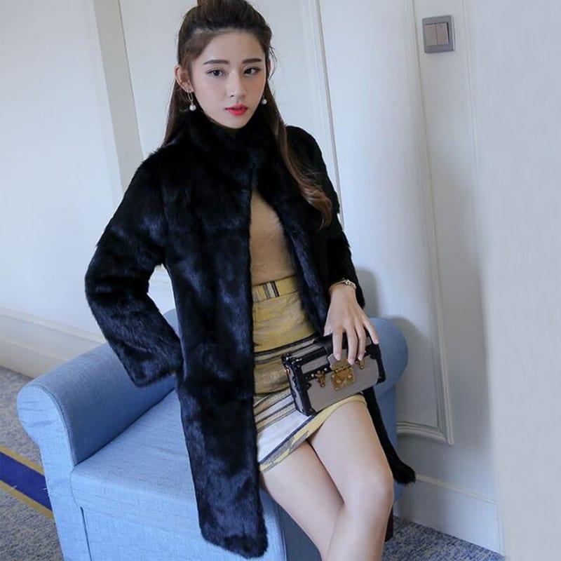 2019 New Arrival TONFUR Natural Full Whole Skin Genuine Rabbit Fur Coat with Keep Warm Mandarin