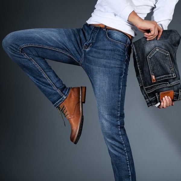 2019 New Mens Fashion Black Blue Jeans Men Casual Slim Stretch Jeans Classic Denim Pants Trousers 1