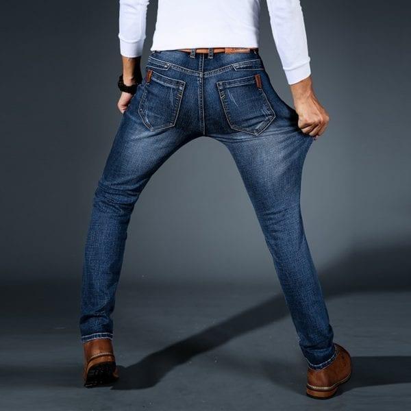 2019 New Mens Fashion Black Blue Jeans Men Casual Slim Stretch Jeans Classic Denim Pants Trousers 2