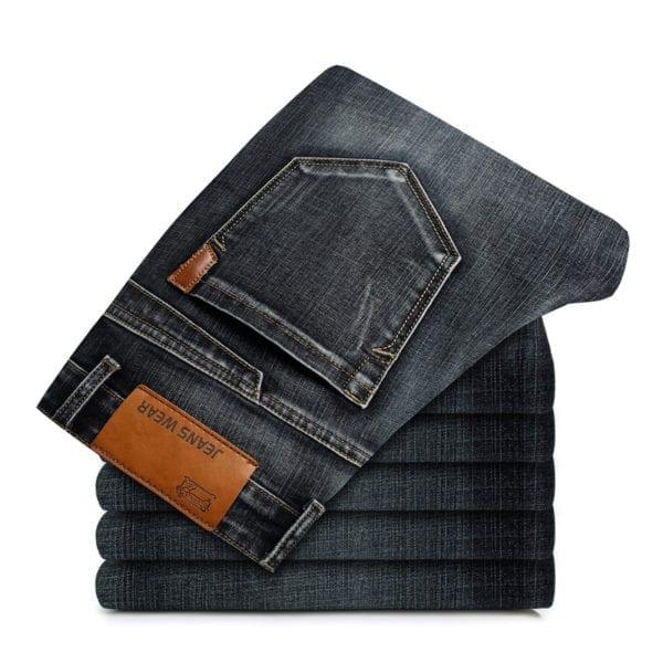 2019 New Mens Fashion Black Blue Jeans Men Casual Slim Stretch Jeans Classic Denim Pants Trousers 4