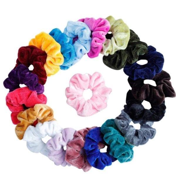 27 Color Soft Chiffon Velvet Satin Hair Scrunchie Floral Grip Loop Holder Stretchy Hair Band Leopard 1