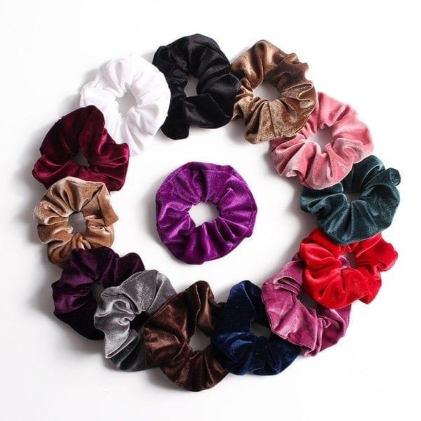 27 Color Soft Chiffon Velvet Satin Hair Scrunchie Floral Grip Loop Holder Stretchy Hair Band Leopard 2