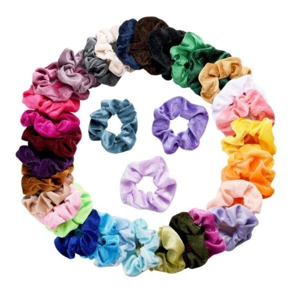 27 Color Soft Chiffon Velvet Satin Hair Scrunchie Floral Grip Loop Holder Stretchy Hair Band Leopard 3