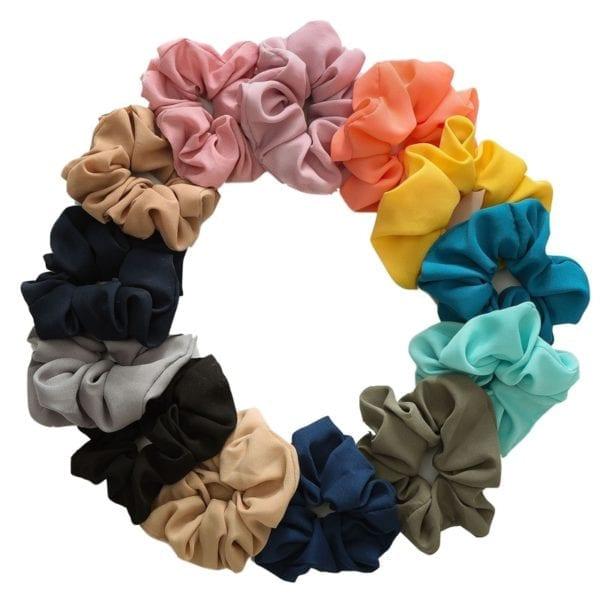 27 Color Soft Chiffon Velvet Satin Hair Scrunchie Floral Grip Loop Holder Stretchy Hair Band Leopard 4