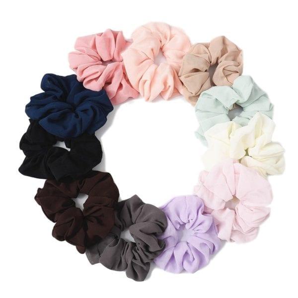 27 Color Soft Chiffon Velvet Satin Hair Scrunchie Floral Grip Loop Holder Stretchy Hair Band Leopard 5