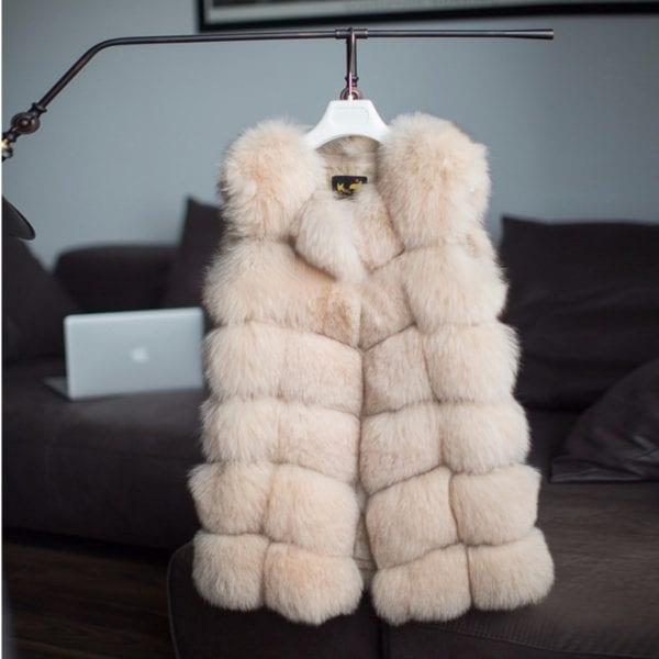 FURSARCAR Real Natural Fur Vest Women Fox Fur Coat 2019 New Luxury Female Fur Jacket Warm 10