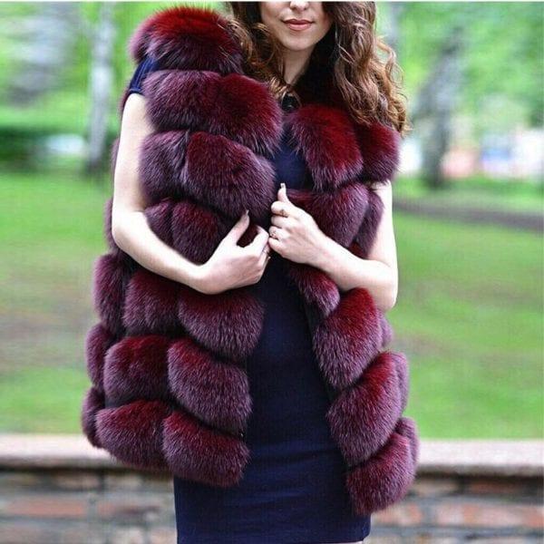 FURSARCAR Real Natural Fur Vest Women Fox Fur Coat 2019 New Luxury Female Fur Jacket Warm 7