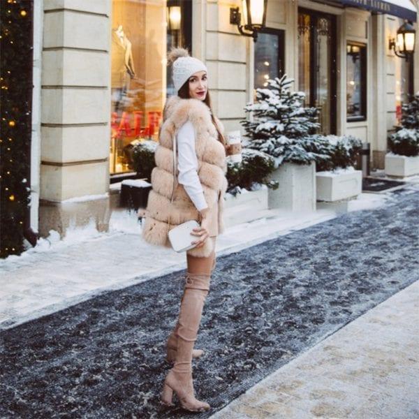 FURSARCAR Real Natural Fur Vest Women Fox Fur Coat 2019 New Luxury Female Fur Jacket Warm 9