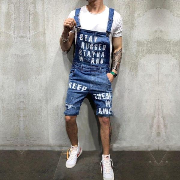 Hip hop Fashion Men s Ripped Jeans Jumpsuits Hi Street Distressed Denim Bib Overalls For Man 1