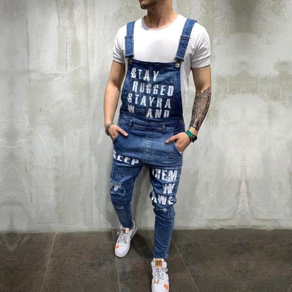 Hip hop Fashion Men s Ripped Jeans Jumpsuits Hi Street Distressed Denim Bib Overalls For Man