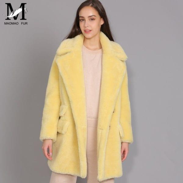 MAOMAOFUR Real Wool Teddy Coat Women New Fashion Real Sheep Fur Jacket Female Warm Oversize Winter 10