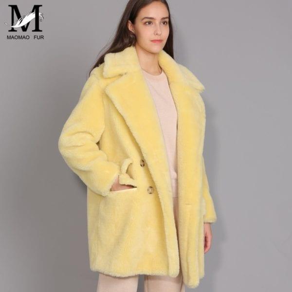 MAOMAOFUR Real Wool Teddy Coat Women New Fashion Real Sheep Fur Jacket Female Warm Oversize Winter 11