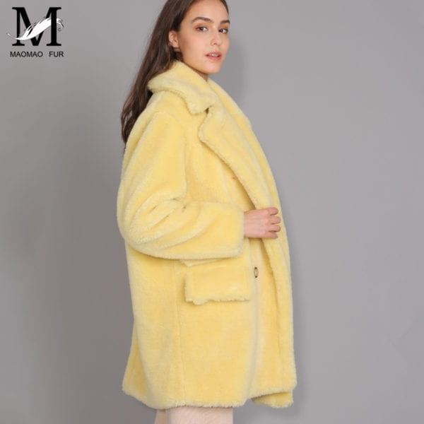 MAOMAOFUR Real Wool Teddy Coat Women New Fashion Real Sheep Fur Jacket Female Warm Oversize Winter 7