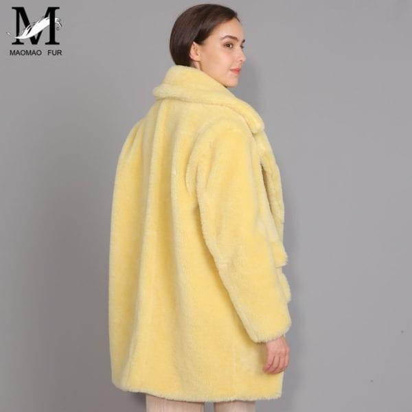 MAOMAOFUR Real Wool Teddy Coat Women New Fashion Real Sheep Fur Jacket Female Warm Oversize Winter 8