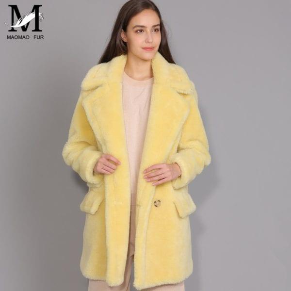 MAOMAOFUR Real Wool Teddy Coat Women New Fashion Real Sheep Fur Jacket Female Warm Oversize Winter 9