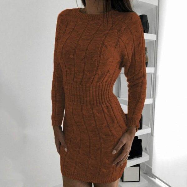 Nadafair Sweater Dress Winter Twist Tunic Elegant Casual Mini Bodycon Autumn Long Sleeve Knitted Dress Women 12.jpg 640x640 12