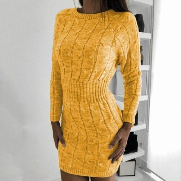 Nadafair Sweater Dress Winter Twist Tunic Elegant Casual Mini Bodycon Autumn Long Sleeve Knitted Dress Women 17.jpg 640x640 17