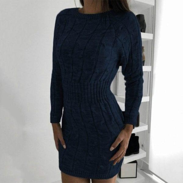 Nadafair Sweater Dress Winter Twist Tunic Elegant Casual Mini Bodycon Autumn Long Sleeve Knitted Dress Women 22.jpg 640x640 22