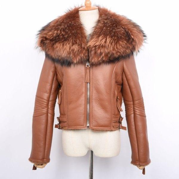 New Women s Genuine Leather Coat Real Fur Lined Coat Fashion Thick Warm Raccoon Fur Collar.jpg 640x640