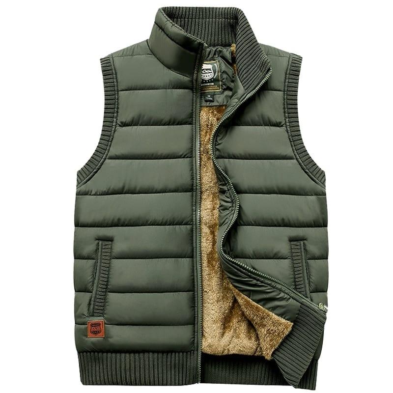 Newest 2019 Autumn Winter Men Coat Warm Sleeveless Jacket Casual Men Vest Coat Fleece Army Green