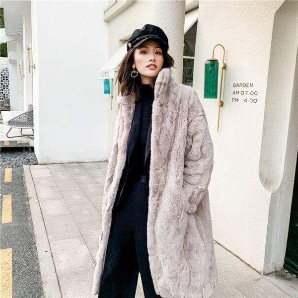 OFTBUY 2019 Real Fur Coat Winter Jacket Women Natural Rex Rabbit Fur Long Overcoat Stand Collar 10