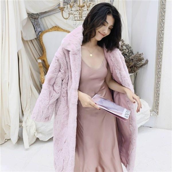 OFTBUY 2019 Real Fur Coat Winter Jacket Women Natural Rex Rabbit Fur Long Overcoat Stand Collar 11
