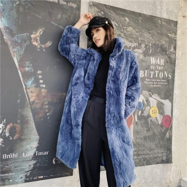 OFTBUY 2019 Real Fur Coat Winter Jacket Women Natural Rex Rabbit Fur Long Overcoat Stand Collar 7