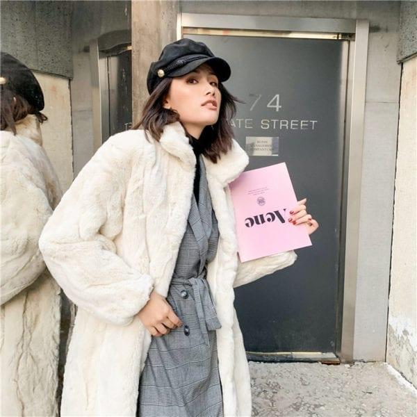 OFTBUY 2019 Real Fur Coat Winter Jacket Women Natural Rex Rabbit Fur Long Overcoat Stand Collar 8