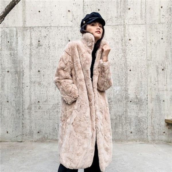 OFTBUY 2019 Real Fur Coat Winter Jacket Women Natural Rex Rabbit Fur Long Overcoat Stand Collar 9