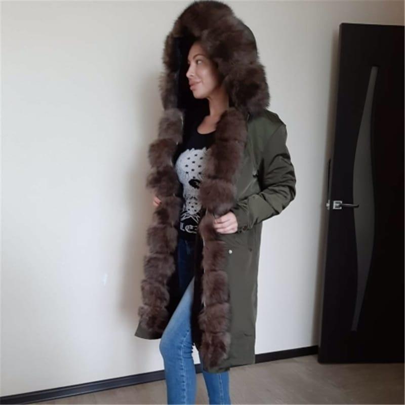 OFTBUY Waterproof Real Fur Coat X long Parka Winter Jacket Women Natural Fox Fur Collar Hood 6