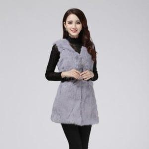 Real natural genuine rabbit fur coat women fashion rabbit fur vest gilet ladies jacket outwear overcoat 1