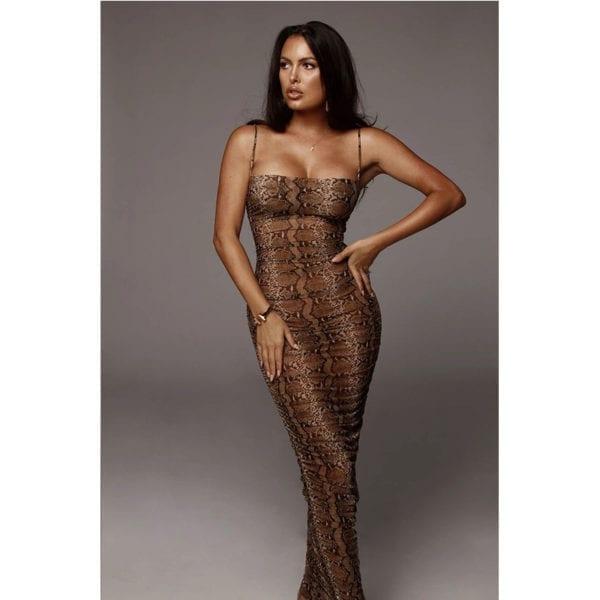 Sexy Leopard Print Snake Skin Dress Women Backless Elegant Bodycon Slim Pencil Dress Plus Size Maxi 3