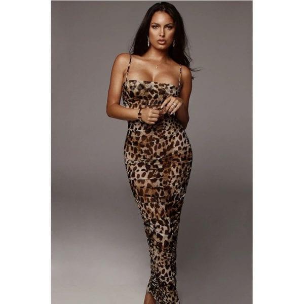Sexy Leopard Print Snake Skin Dress Women Backless Elegant Bodycon Slim Pencil Dress Plus Size Maxi 4